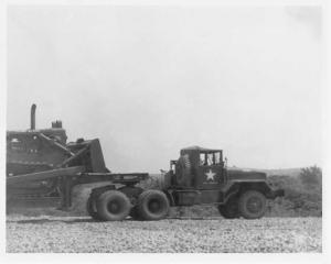 1940s FWD Truck Pulling Bulldozer on Trailer Press Photo 0010