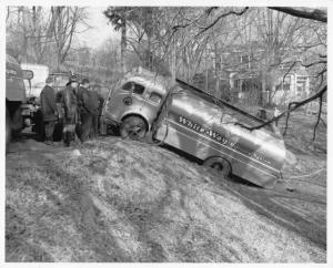 1953 White Tanker Truck Accident-Stuck Press Photo 0131 - White-Way Delivery