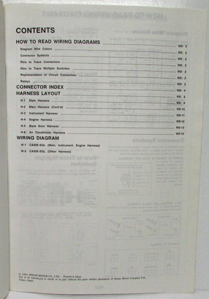 1988 Nissan Stanza Wagon/Multi 4WD SGL Electrical Wiring ...