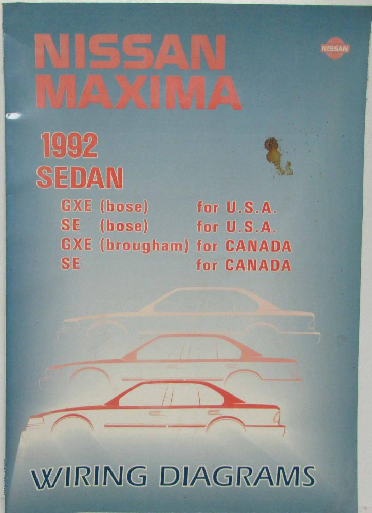 1989 Nissan Maxima Wiring Electrical Service Diagram Manual