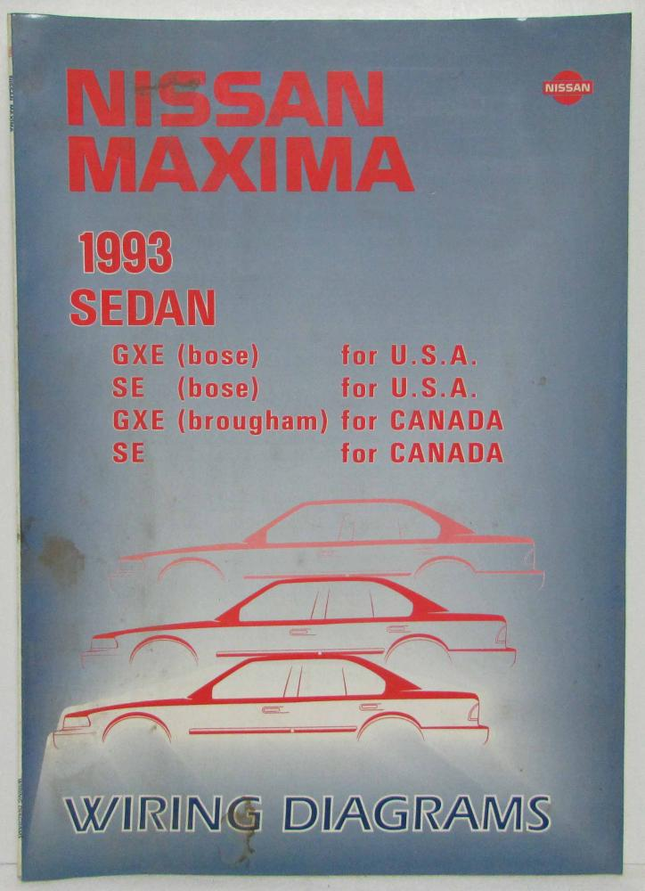 1993 Nissan Maxima Sedan Gxe And Se Electrical Wiring