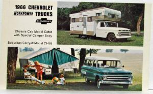 1966 Chevrolet WorkPower Trucks Chassis Cab Camper & Suburban Carryall Postcard