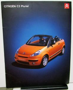 2002 Citroen European Dealer C3 Pluriel Dutch Text Sales Brochure Large