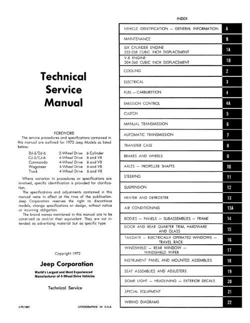1973 Jeep Cj Dj 5 6 Commando Wagoneer Shop Service Manual