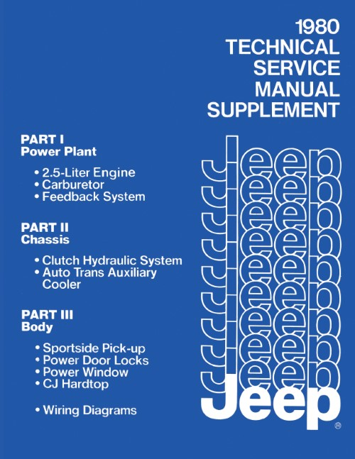1980 Jeep Service Manual Supplement 2.5L 4 Cyl & More