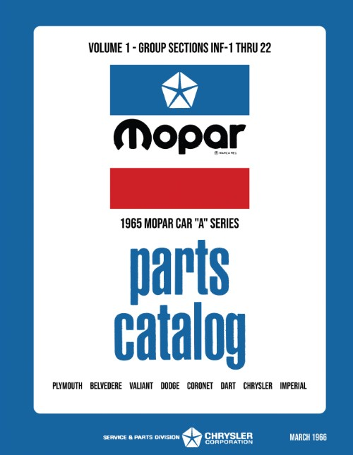 1965 Mopar Parts Book Manual Catalog Plymouth Dodge Chrysler Imperial