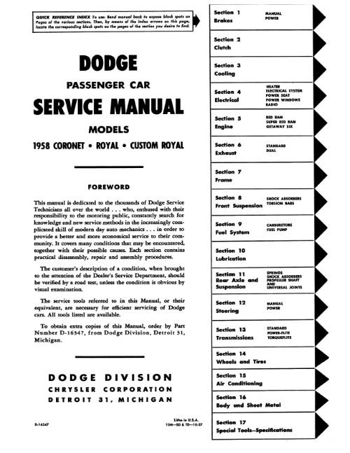 1958 1959 Dodge Coronet Custom Royal Factory Service Manual Shop Repair Reprint