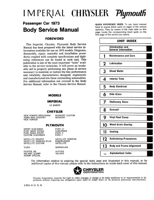 1973 Plymouth Cuda Duster Road Runner & Chrysler Body Service Manual