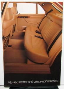 1981 Mercedes Benz Dealer Sales Brochure Interior Options MB-Tex Leather Velour