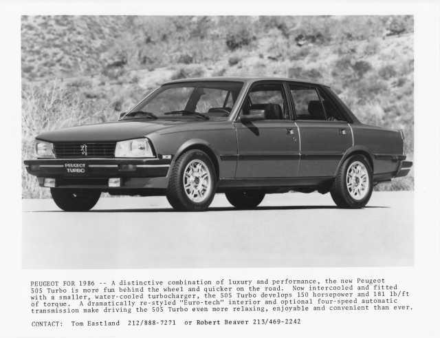 1986 Peugeot 505 Turbo Press Photo 0016