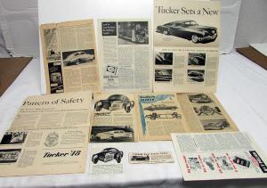 Vintage Tucker 1940s Car Magazine Articles Write Ups Original Time Newsweek