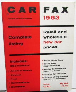 1963 Car Fax New Car Prices Guide Book AMC Chrysler Ford GM Studebaker Orig