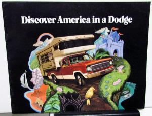 1973 Dodge Recreational Vehicle Dealer Sales Brochure RV Camper Motor Home