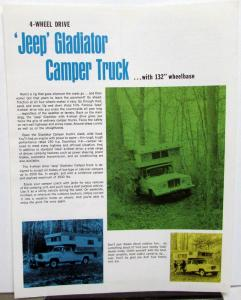 1968 Jeep Gladiator 4 Wheel Drive Camper Truck Sales Data Sheet RV Features