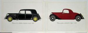 1976 Citroen Illustrative Plates of 1934 1935 and 1939 Models - French
