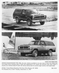 1986 Dodge Ramcharger Truck Press Photo 0099