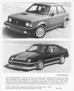 1986 Dodge GLH and Shelby Charger Press Photo 0112