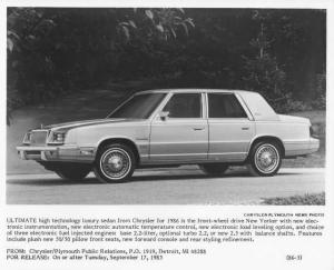 1986 Chrysler New Yorker Press Photo 0040