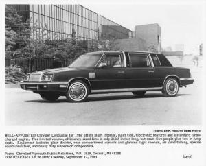 1986 Chrysler Limousine Press Photo 0041
