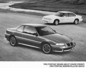 1992 Pontiac Grand Am GT and Bonneville SE Press Photo 0098