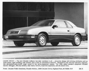 1988 Chrysler LeBaron 2-Door Coupe Press Photo 0063