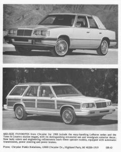 1988 Chrysler LeBaron Sedan and Town & Country Station Wagon Press Photo 0064