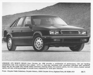 1988 Chrysler LeBaron GTS Sport Sedan Press Photo 0065