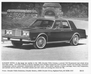 1988 Chrysler Fifth Avenue Press Photo 0066