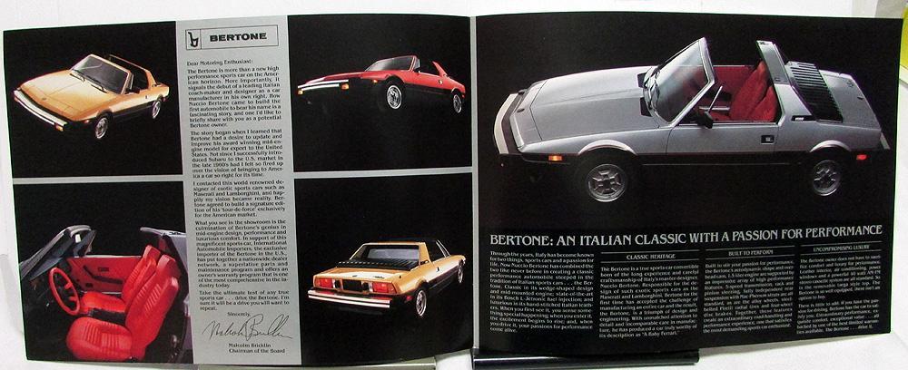 1984 bertone import sports car dealer sales brochure large