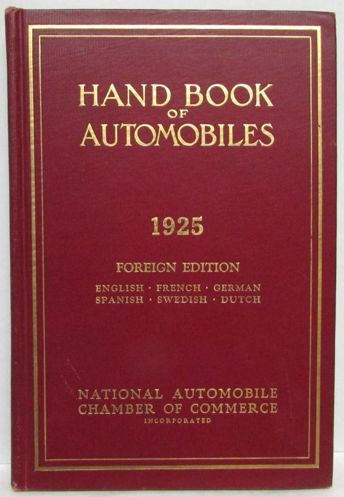 1925 Hand Book of Automobiles - Hardback - Foreign Edition - Multi-Language Supp