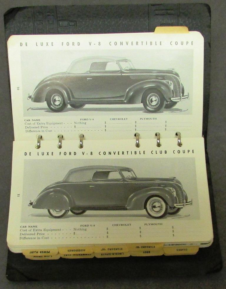 1938 Ford Lincoln Zephyr Car Factograph Comparison Data Book Dealer
