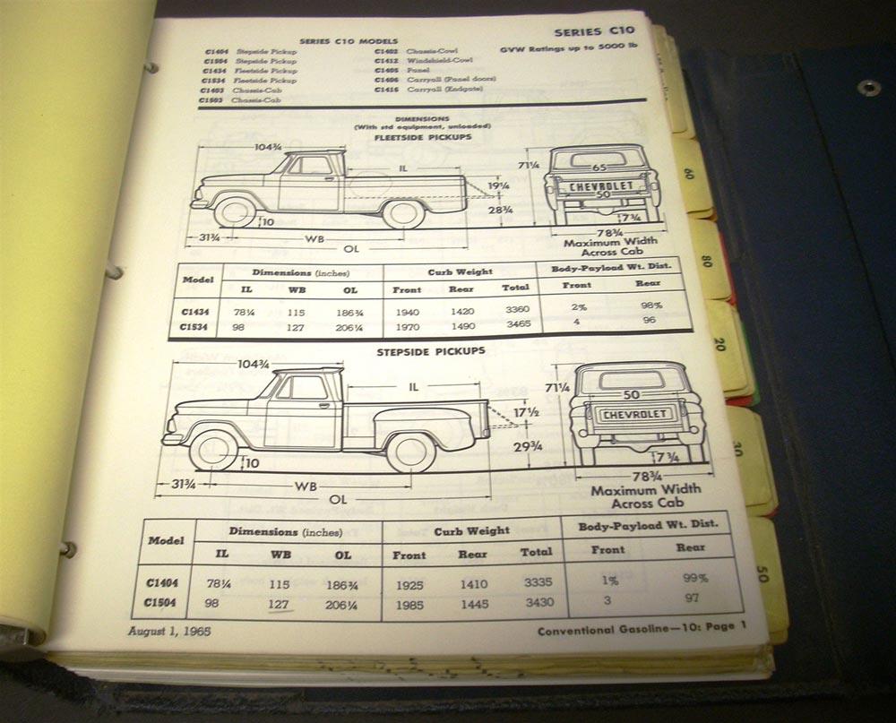 1966 Chevrolet Truck Data Book El Camino C 10 Pickup Van