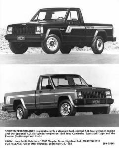 1989 Jeep Comanche Sportruck & Pioneer Pickup Truck Press Photo w/Text 0029 - MJ
