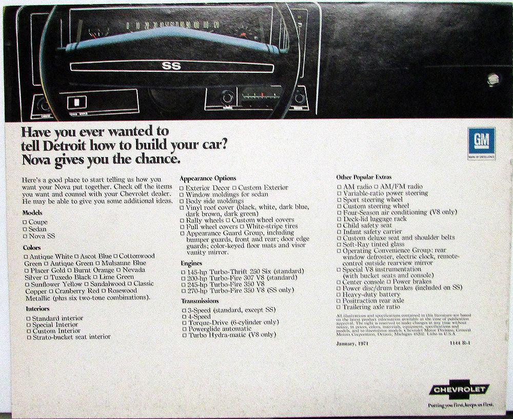 1971 Chevrolet Nova Sales Brochure Coupe//Sedan//SS