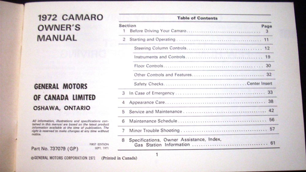 Original 1972 Chevrolet Camaro Canadian 1st Edition Owners Manual