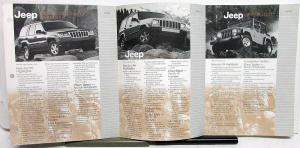 1999 Jeep Dealer Data Book Insert Grand Cherokee Wrangler Cherokee Features