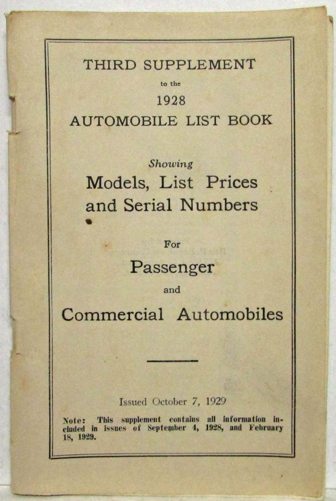 1928 Branham 3rd Supplement to the Automobile List Book