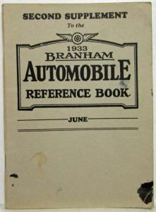 1933 Branham Automobile Reference Book - June Supplement