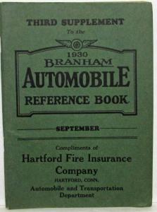 1930 Branham Automobile Reference Book - Third Supplement - September