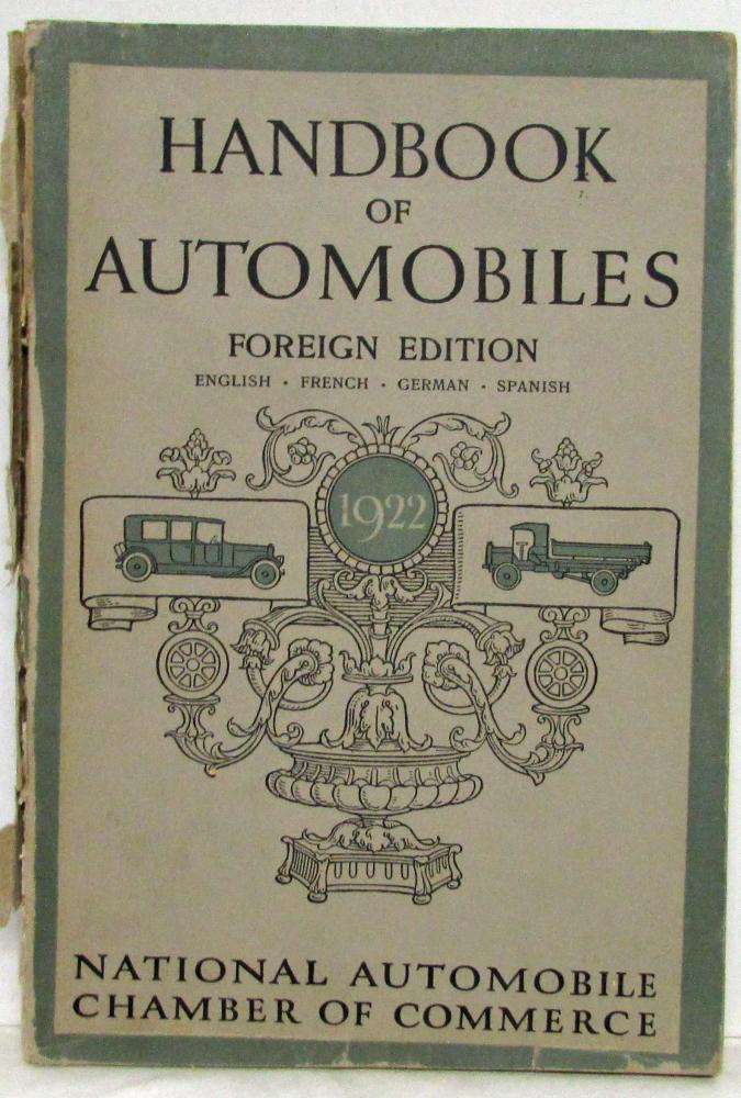 1922 Hand Book of American Automobiles - Foreign Edition Kissel Dodge Willys