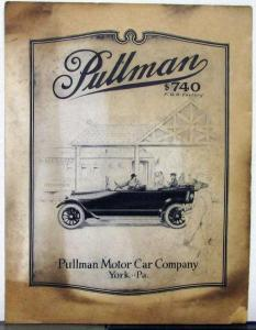 1916 Pullman Roadster Touring Winter Top Clover Leaf Sales Folder Brochure Orig