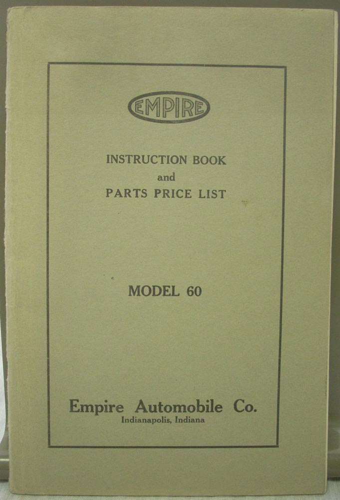 1916 Empire Model 60 Instruction Book and Parts Price List
