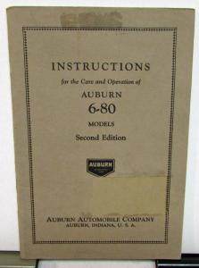 1929 Auburn 6-80 Second Ed Instructions Care Operation Owners Manual