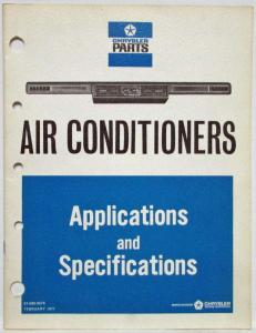 1967-1971 Chrysler Parts Air Conditioners Application & Specifications - A/C