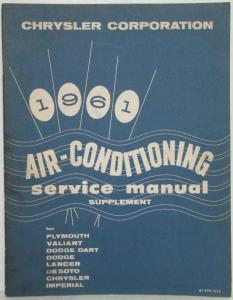 1961 Chrysler Air Conditioning Service Shop Manual Supplement - A/C
