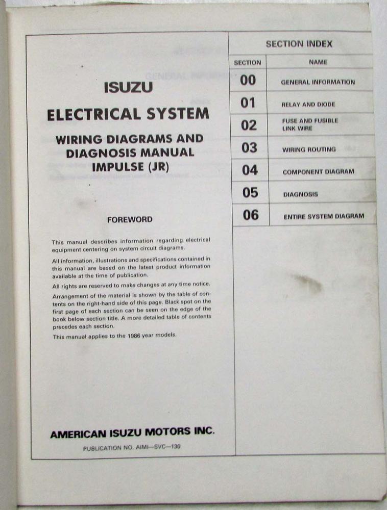 1986 Isuzu Impulse Electrical System Wiring Diagrams