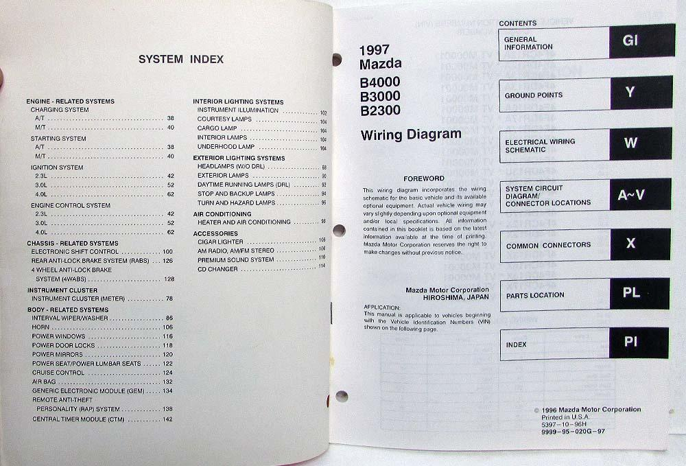 1997 Mazda B4000 B3000 B2300 Pickup Truck Electrical Wiring Diagram Manual