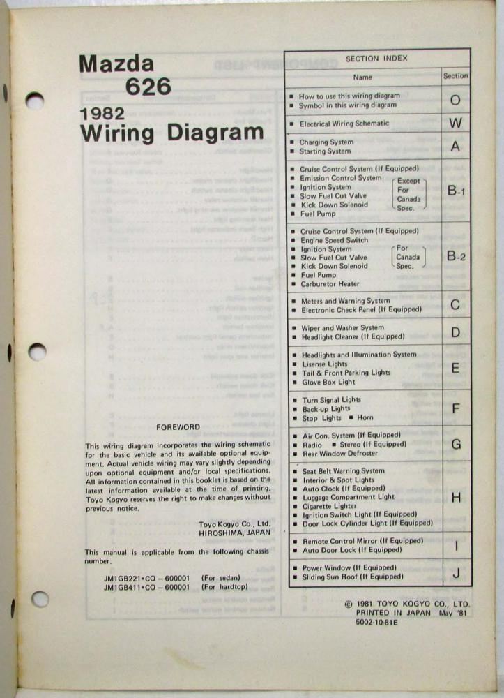 1982 Mazda 626 Wiring Diagram