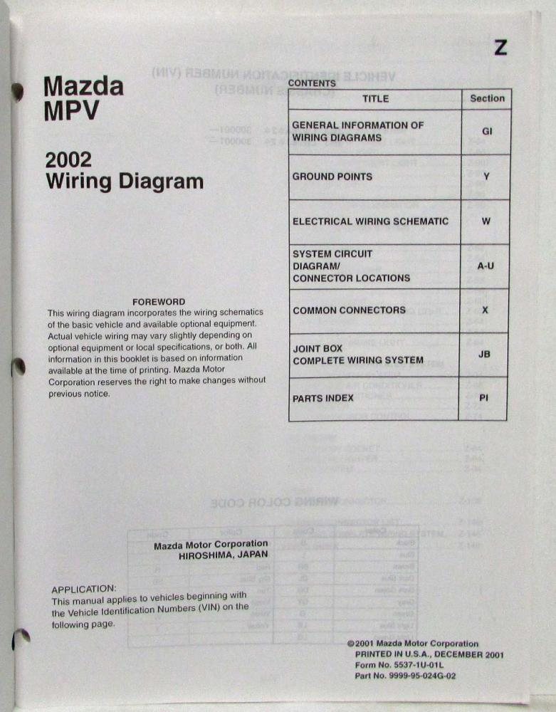 2002 Mazda Mpv Electrical Wiring Diagram