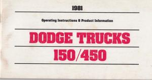 1981 Dodge Truck Pickup Series 150-450 Owners Manual Care & Op Instructions